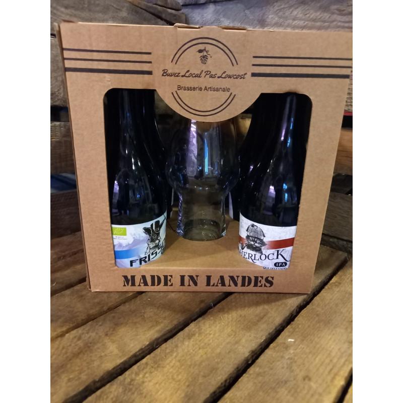Coffret 4 bières Brasserie Naturelle des Landes + 1 verre dégustation